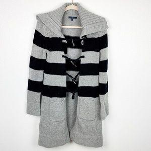 Gap Gray & Black Stripe Wool Duster Cardigan   M
